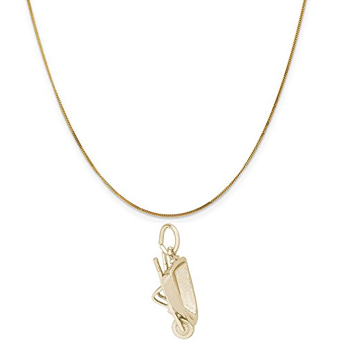 Rembrandt Charms 14K Yellow Gold Wheel Barrow Charm on a 14K Yellow Gold Curb Chain Necklace, 20