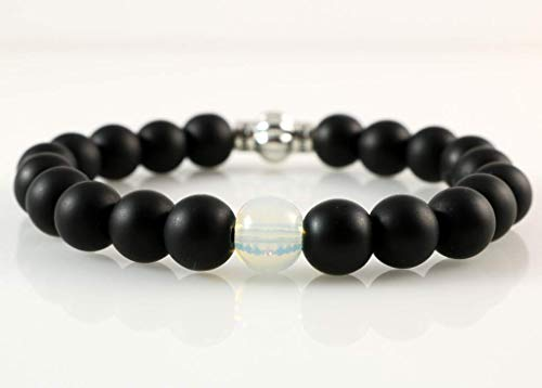 Black Onyx with Moonstone 8mm Round Bead Root Chakra Handmade Stretch Bracelet 6.7 inches