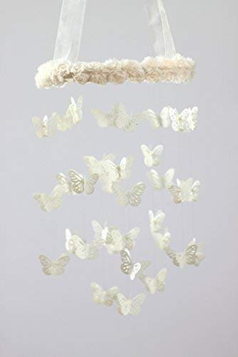 Butterflies & Roses Nursery Mobile in Ivory- SMALL SIZE