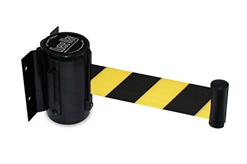 Retractable Belt - Tensator QWAYWALL-D4 QwayWall Wall Mounted, Black Finish, Black/Yellow Diagonal Stripe, 7'6