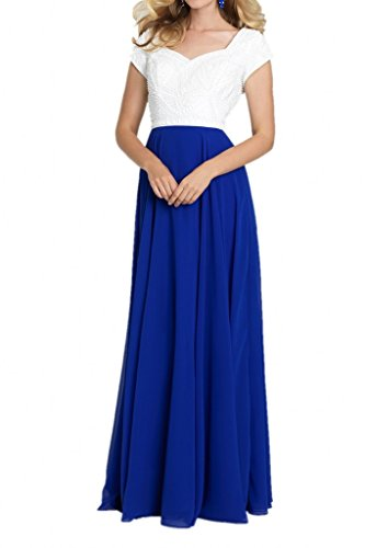 line Party Avril Royal Evening Sweep A Short Dress Charmeuse Chiffon Sleeves Blue Dress x1w1Fq