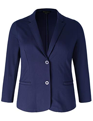 Chicwe Women's Plus Size Stretch Solid Classic Suit Jacket - Casual and Work Blazer (Navy, 4X)