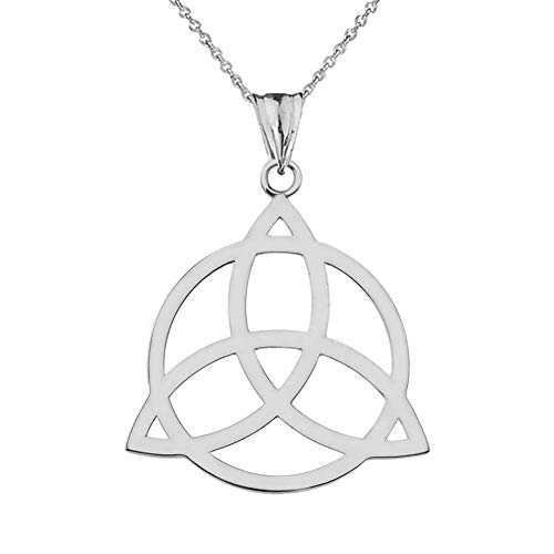 - Elegant Sterling Silver Celtic Trinity Knot Circle of Life Silhouette Pendant Necklace, 16
