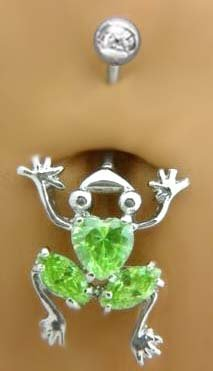 Green Peridot Belly Button Ring - 5
