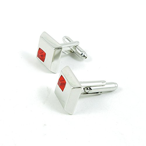 50 Pairs Cufflinks Cuff Links Fashion Mens Boys Jewelry Wedding Party Favors Gift 331OV0 Red Dot Square by Fulllove Jewelry