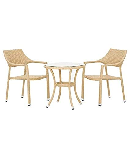 WICKER HUB GC26 Outdoor Set 2 Chair 1 Table Honey