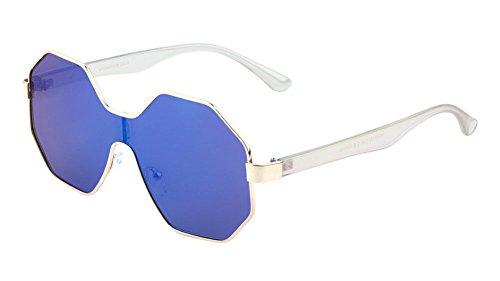 Infinity Octagon Shield Flat Lens Oversized Sunglasses (Gold & Holographic Frame, Blue Iridium - Holographic Sunglasses Lenses