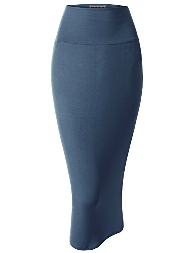 Doublju Women Trendy Thin and Stretchy Pencil Skirt DARKBLUE,L (Glamorous Hollywood Costumes)