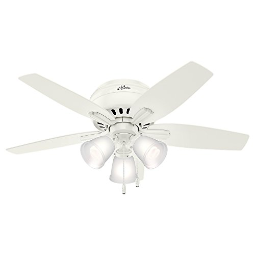 """Hunter Fan Company 51077 Hunter Newsome Low Profile with 3 Kit Ceiling Fan with Light, 42"""", Fresh White"""