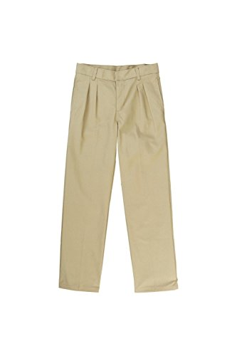 French Toast Big Boys' Relaxed Fit Pleated Pant, Khaki, 14 by French Toast