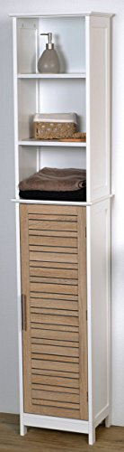 EVIDECO Stockholm Free Standing Bath Wood Linen Tower Cabinet Shelves and Drawers Storage