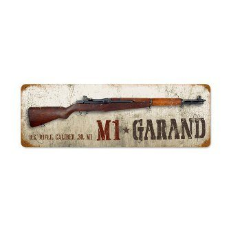 Past Time Signs V955 M1 Garand Allied Military Vintage Metal Sign from Past Time Signs