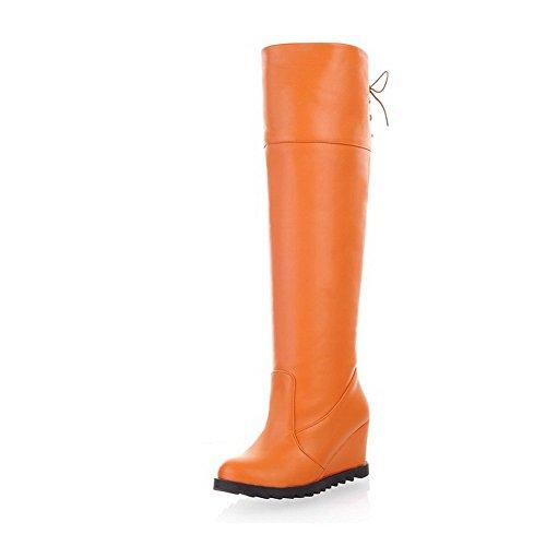 VogueZone009 Damen Rund Zehe Knie Hohe Mittler Absatz Rein PU Leder Stiefel Orange