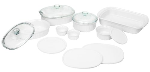Corningware French White 14 Piece Bakeware Set (French Ceramic Cookware compare prices)