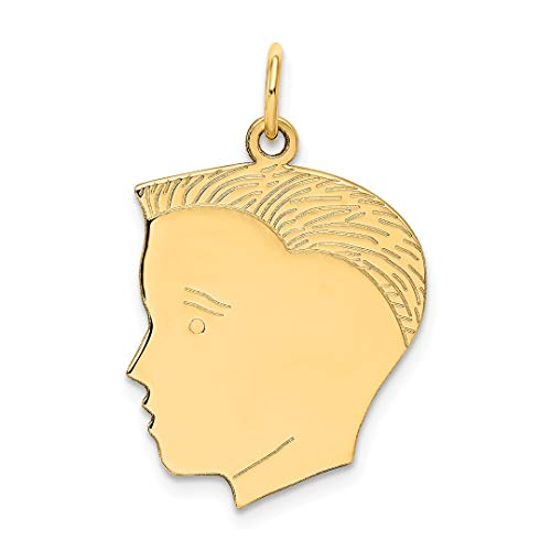 14k Yellow Gold Boy Head Pendant Charm Necklace Engravable Disc Left Facing Girl Pre Engraved Fine Jewelry Gifts For Women For Her ()