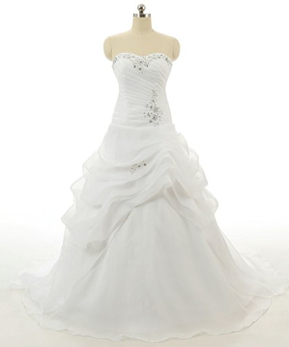 RohmBridal Women's Sweetheart A-line Wedding Dress Bridal Gown Ivory Size 16