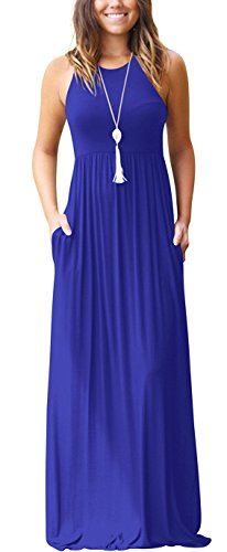 GRECERELLE Women's Round Neck Sleeveless A-line Casual Dress with Pockets Royal Blue-M