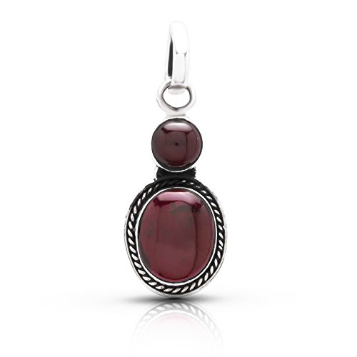 Koral Jewelry Garnet Oval Round Stone Pendant Sterling Silver 925 Ethnic Vintage Look