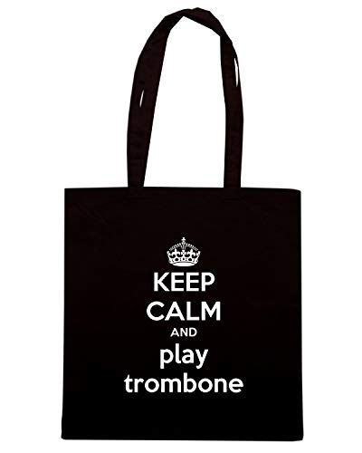 Speed Shirt Borsa Shopper Nera TKC3178 KEEP CALM AND PLAY TROMBONE