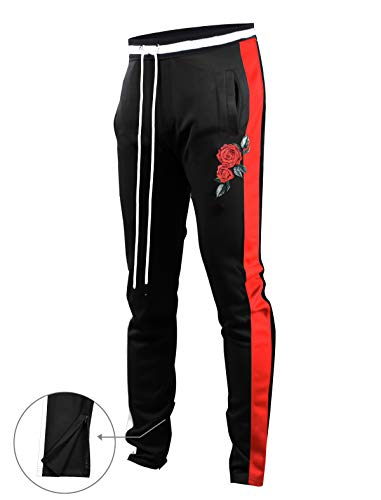 Black Street Pant - SCREENSHOTBRAND-P11853 Mens Hip Hop Premium Slim Fit Track Pants - Athletic Jogger Rose Embroidery Bottom with Taping-BK/RD-Large
