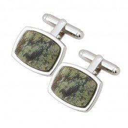 Irish Cufflinks Rectangular Connemara Marble Rhodium Plated