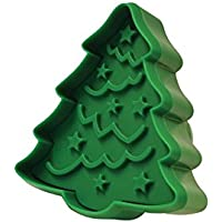 """R&M International Tree/Ornament 3.5"""" Double-Sided Cookie Stamper, Green"""