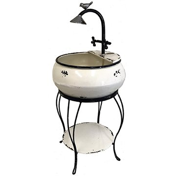 ghd Free Standing recirculating Water Fountain With Plant Stand and Pump, Vintage Style White Enamel Metal