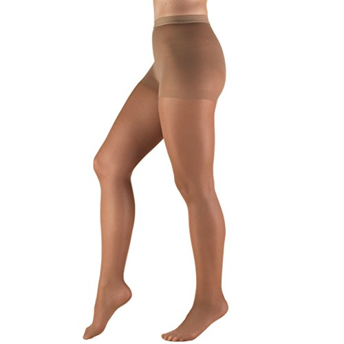 Truform Sheer Compression Pantyhose, 8-15 mmHg, Women's Shaping Tights, 20 Denier, Taupe, Queen Plus