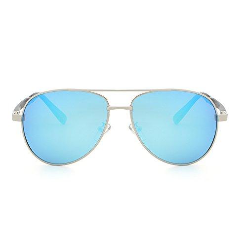 De Marque Color Bande Soleil Lunettes Gafas Sol New Silver Designer Hommes Vintage de UV400 Fashion Gun Gray De Classique Soleil Cicongzai Femmes Lunettes blue CxvwqfqX