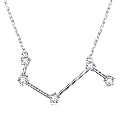 Aries Zodiac Pendant - Constellation Necklace 925 Sterling Silver CZ Horoscope Zodiac Constellation Pendant Necklace for Women,18