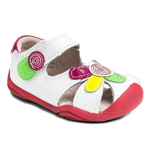 pediped Daisy Grip-N-Go Dress Sandal ,White/Multi Leather,18