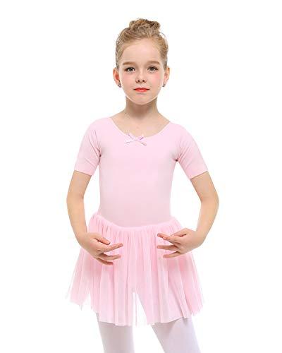 STELLE Toddler/Girls Short Sleeve Tutu Dress Ballet Leotard for Dance, BP, XXS(2Y) (Baby Leotard 18 Months)