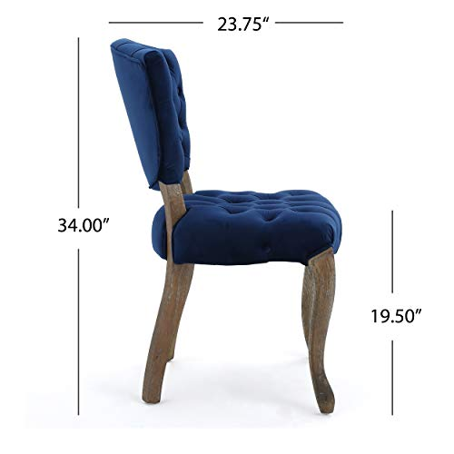 Christopher Knight Home 299874 Bates Tufted New Velvet Dining Chairs (Set of 2) Navy Blue by Christopher Knight Home (Image #6)