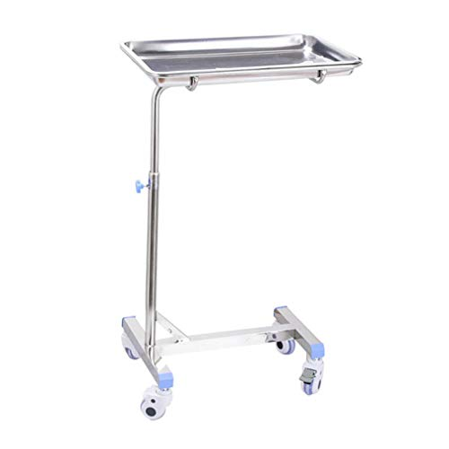 Mobile Stainless Steel Tray Stand, Medical Salon Tattoo Equipment Trolley, Height Adjustment, 60×40×77-110cm(L×W×H)
