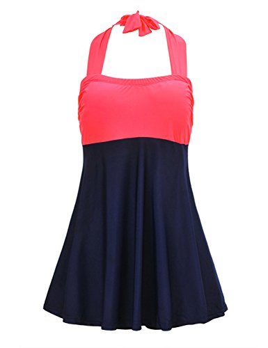 JOYMODE Women's Plus Size Color Contrast Swimdress Skirtini One Piece SwimSuit