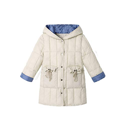 Price comparison product image MaxFox Coat Toddler Girl Overcoat Button Hoodie Winter Warm Thick Jackets Outerwear Coat Kids Cotton Clothes (Beige,  8-9 Years)