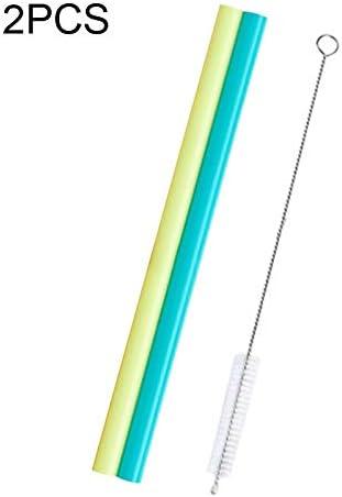 Liye 2 PCS食品グレードシリコーンストロー漫画カラフルなドリンクツール1ブラシ、ストレートパイプ、長さ:14センチメートル、外径:10ミリメートル、内径:8.5ミリメートル、ランダムカラーデリバリー