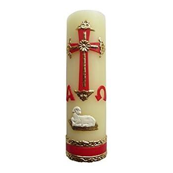 Angelitos de Mexico Alpha Omega Candle for Baptism, Confirmation, Easter Lent Cirio Para Bautizo, Confirmacion O Boda Cirio Pascual (Red)