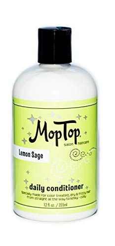 12oz MopTop Salon Daily Conditioner for Dry, Thick, Wavy, Curly & Kinky-Coily, Color Treated & Natural Hair, made w/Aloe & Honey reduce Frizz, increase Moisture, Manageability for Smooth, Silky Hair