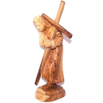 Holy Land Market Jesus carrying the Cross - Olive wood (14.5x5.5x4 cm or 5.6x2.2x1.6)