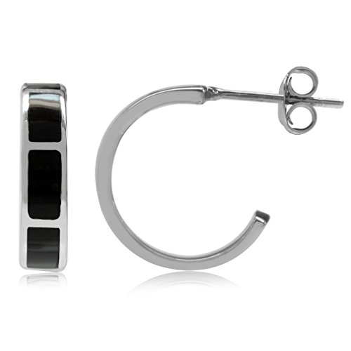 (Created Black Onyx Inlay White Gold Plated 925 Sterling Silver C-Hoop Earrings)