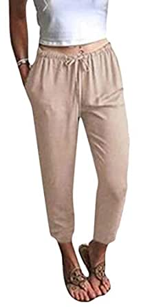 FSSE Womens Casual High Waisted Cotton Comfy Solid Drawstring Harem Pants 1 2XL