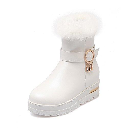 Toe Allhqfashion Round top Boots Women's Closed Zipper Low Heels White Kitten PU qrAwIxrKgE