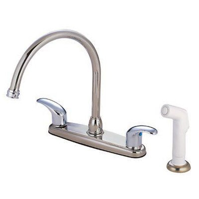 Daytona Centerset Kitchen Faucet with Double Lever Handles Finish: Satin Nickel/Polished Chrome ()