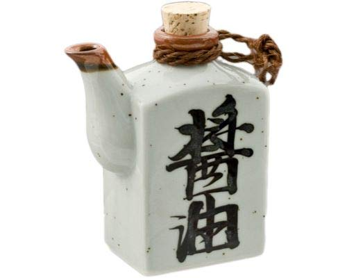 Traditional Japanese Pottery Square Shape Kanji Shoyu Characters Soy Sauce Shoyu Dispenser With Cork Top Stopper 9oz Handcrafted in Japan (White Gloss)