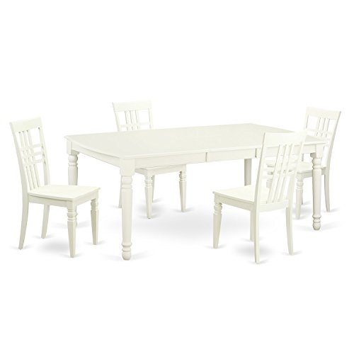 East West Furniture DOLG5-LWH-W 5 PC Kitchen Tables & Chair Set with One Dover Dining Table & 4 Kitchen Chairs in Linen White Finish