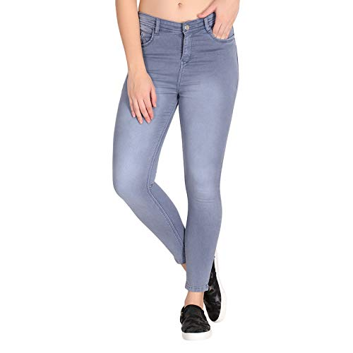 DELMY Denim Jeans for Girls/Women's Slim Fit Stretchable Ankle Lenth with 1 Button Closure (Black_) Combo Pack of 1