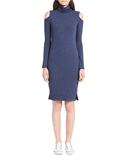 Calvin Klein Jeans Women's Cold-Shoulder Ribbed Sweater Dress (Inky Blue Heather, Large)