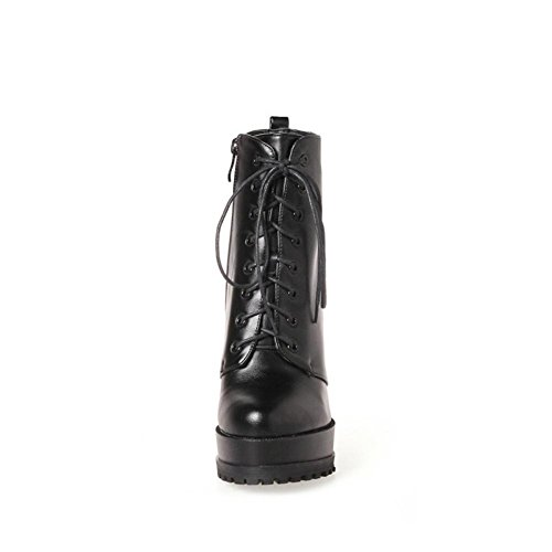 Rough Armygreen Nvxie Mujer Eur Invierno 42 Delantero Impermeable Black Red Eur39uk665 High Exterior Cordón Botas 5 8 uk Artificial Heel Antideslizante Pu Plano Otoño 66xtAr