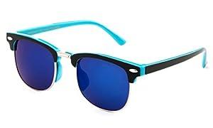 "Newbee Fashion - ""Justin"" Kids Clubmaster Fashion Sunglasses with Flash Lens"